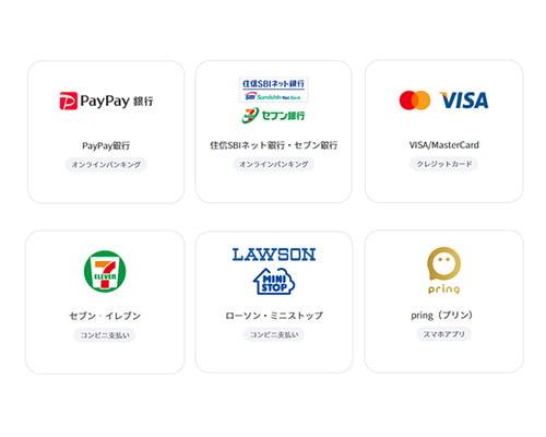 「クレジットカード」「オンラインバンキング(PayPay銀行、セブン銀行、住信SBIネット銀行)」「セブン‐イレブン代金収納」「ローソン・ミニストップ コンビニ支払い」「pring」のいずれかを選択します。