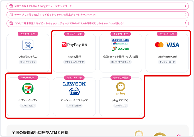 「クレジットカード」「オンラインバンキング(PayPay銀行、セブン銀行、住信SBIネット銀行)」「セブン‐イレブン代金収納」「ローソン・ミニストップ コンビニ支払い」「pring」のチャージはこちらから